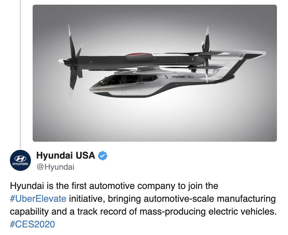 Hyundai Taxi aérien avec Uber